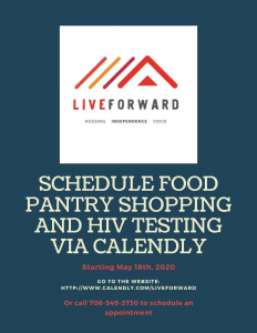 Schedule food pantry shopping and hiv testing via calendly